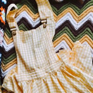 ✨Vintage Yellow Gingham Overall Pinafore✨